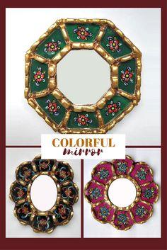 Peruvian Octagonal Mirror - Decorative Mirror - Reverse Painted Glass - Home Wall Decor - Peruvian Artisan Mirror - Gold Leaf Finish Mirror #color #mirror #wallmirror #flower #peruvian #affiliatelink #commissionlink