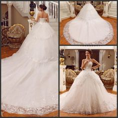 Wholesale Wedding Dresses - Buy 2014 Luxury Bridal Dresses Gowns Exquisite Free Petticoat Lace Ball Gown Wedding Dresses Gowns Beads Sequins Rhinestonesbride Dresses Gown, $236.36 | DHgate