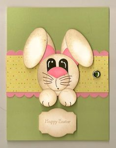Cute Bunny Card Template | materials for the card cardstock pear pizzazz whisper white pretty