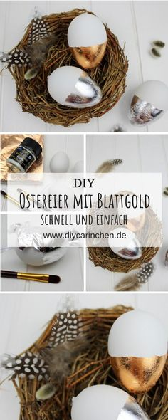 Decorate DIY Easter eggs with gold leaf - in just a few steps to your homemade Easter decoration - Alle DIYs von DIYCarinchen - Ostern Web Paint, Diy Car, Easter Eggs, Candle Holders, Candles, Homemade, Inspiration, Decor, Gold Leaf