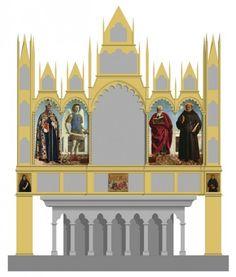 Reconstrucción hipotética del monumental políptico que Piero della Francesca pintó para la Iglesia de Sant' Agostino en Borgo del Santo Sepolcro (actual Sansepolcro), la ciudad natal del artista. Seis de los ocho paneles que se conservan se exponen estos días en la primera exposición monográfica estadounidense del maestro precursor del Renacimiento