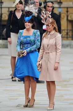 Princess Eugenie and Princess Beatrice (and her hat) following the wedding ceremony of Prince William and Catherine Middleton-April, 2011