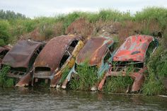 Detroit Riprap: Abandoned Cars as Erosion Control. Seems appropriate for Detroit, I think! Abandoned Buildings, Abandoned Houses, Abandoned Places, Abandoned Vehicles, Abandoned Detroit, Rust Never Sleeps, Pompe A Essence, Rust In Peace, Erosion Control
