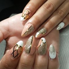 acrylic nail 2018 + gold style