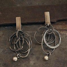 clip on earrings • raw sterling silver hoop earrings • organic silver • dangle earrings •