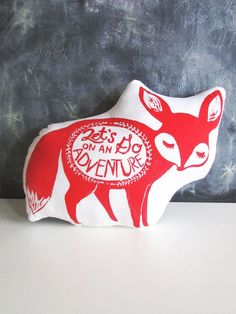 Large Fennec Fox Pillow. Hand Block Printed. Pick Your Colors. 18 inches. Let's go on an adventure. on Etsy, $28.00