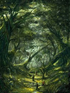 Here's a my new fantasy concept. A land of monsters in a form of trees. Mystical Forest, Fantasy Forest, New Fantasy, Magic Forest, World Of Fantasy, Forest Art, Fantasy Places, Dark Forest, Fantasy Art Landscapes