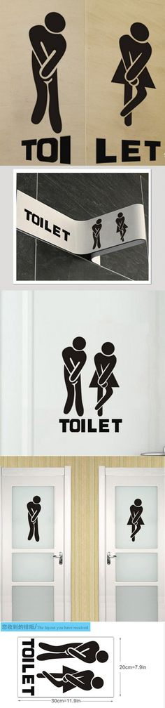 French wall stickers - Funny Toilet Entrance Sign Sticker for france home restaurant toilette decor