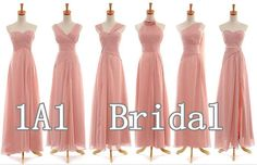 pink bridesmaid dress..can't decide if I like the different style look or different color shades look