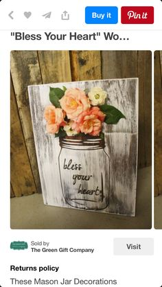 Bless Your Heart Mason Jar with Flowers Frame