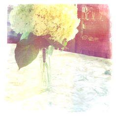 Dreamy summer bouquet in a St-Germain carafe.