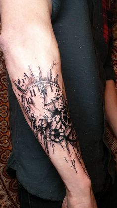 Clock tattoo by Siobhan Alexander