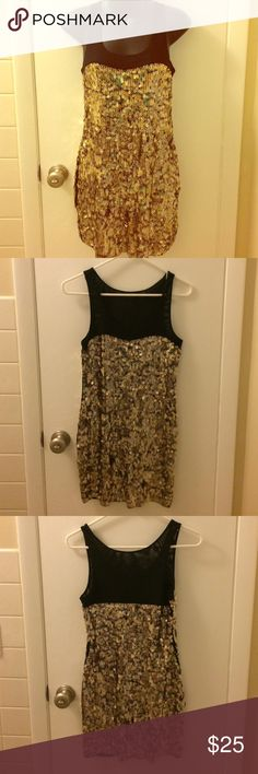 Gold sequin dress! Gold sequin and black mesh dress from Express! Perfect for New Years or any party! Express Dresses