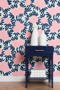 Our most loved pattern now in wallpaper. Classic navy and poppy pink on a soft aqua background combine to create a chic palette with serious style. Paired with bright whites, navys, and a myriad of ne Painting Wallpaper, Bathroom Wallpaper, Wallpaper Roll, Navy Wallpaper, Wallpaper Ideas, Pattern Wallpaper, Girls Bedroom, Bedroom Decor, Bedrooms