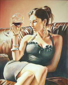 "Saatchi Online Artist: Andy Lloyd; Acrylic, 2011, Painting ""Red, Red Wine"".    Beso de Vino"