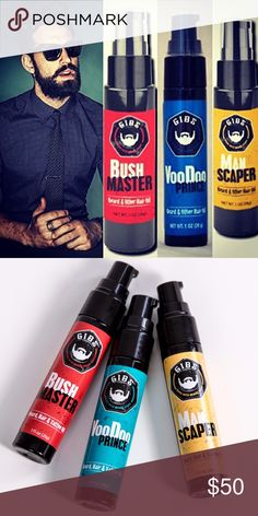 GIBS Beard, Hair & Tattoo Oil (Set of 3) A real man knows mastering his muff makes him a front-runner in the game of life. But he also knows being in touch with his softer side means a better beard the ladies just can't keep their fingers from. These play hard on your brush, whittling away at rough & tough whiskers with a signature blend of five oils. The result is a whisper-soft scruff, laced with light hints of fragrance. It's the ultimate taming that leaves your beard, & the natives…