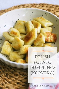 Polish Potato Dumplings (Kopytka), similar to Italian gnocchi, are made with mashed potatoes and flour. The difference is with the toppings! You can serve these simple, incredibly comforting dumplings with whatever you fancy! Caramelized onions, pieces of Potato Ideas, Potato Recipes, Polish Food Traditional, Gourmet Recipes, Cooking Recipes, Frugal Recipes, Dinner Recipes, Polish Dumplings, Kitchens