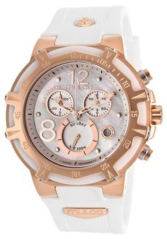 Mulco Blue Marine Mother of Pearl Dial Chronograph White Rubber Ladies Watch MW129903013