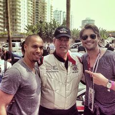 Daniel Goddard (wearing his Charriol Colvmbvs GMT watch), Eric Braeden and Bryton James from The Young and the Restless at Toyota Pro/Celebrity Race. Men's Watches, Watches For Men, Eric Braeden, Charriol, Young And The Restless, Toyota, Celebrity, How To Wear, Celebs