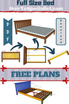 Full Size Bed made from Plans Full Size Bed made from Plans HowToSpecialist jacksander Bed Frame Plans Step by step free guide on how to nbsp hellip frame plans Diy Platform Bed Frame, Platform Bed Plans, Queen Size Platform Bed, Bed Frame Plans, Full Bed Frame, Diy Bed Frame, Bed Frames, Murphy Bed Ikea, Murphy Bed Plans