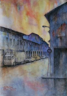 Goh Ee Choo- Little India in Singapore 2013 pen and wash on paper