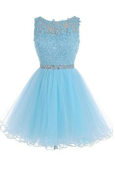 Sexy Open back Light Blue lace Tulle homecoming prom dresses, CM0020 – SposaDesses