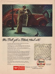 """1945 Vintage Veedol Motor Oil Ad.  """"Parts are scarce or unobtainable.  Our national transportation is in peril."""""""