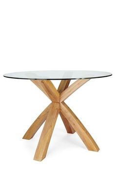 Buy Shropshire Round Oak And Glass Dining Table from the Next UK online shop Glass Round Dining Table, Oak Dining Table, Modern Dining Table, Glass Table, Dining Chairs, Dining Area, Four Seater Dining Table, Square Tables, Round Tables