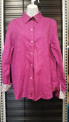 Robert Graham Womens Sz XL Blouse Floral French Flip Cuff Vibrant Hot Pink  Shirt  RobertGraham  ButtonDownShirt  Casual ed5e90ed1