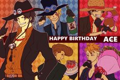 One Piece, Ace, Luffy, Sabo, Thatch, Marco