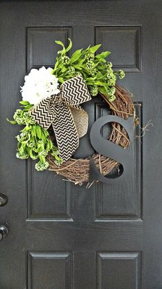 Gorgeous!! Spring and Summer Wildflower, Hydrangea, and Chevron Burlap Wreath With Black Monogram, Spring Hydrangea Wreath. Year Round Wreath