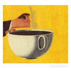 Man Smelling Giant Cup of Coffee Láminas por Pop Ink - CSA Images en AllPosters.es