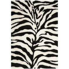Outdoor Area Rugs Safavieh Zebra Shag Ivory Black Rectangular Indoor Machine Made Animals Area Rug Common