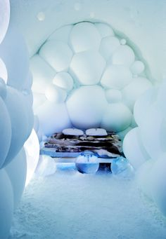 Ice Hotel in Sweden. Artists: Wilfred Stijger and Edith Van De Wetering Lappland, Ice Hotel Sweden, Hotel Concept, Unique Hotels, Unique Vacations, Luxury Hotels, Dream Vacations, Arctic Circle, Ice Sculptures