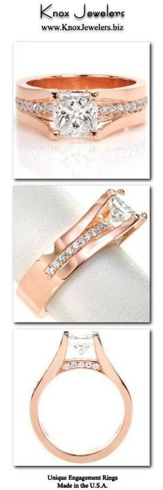 This cathedral style engagement ring is a regal custom design. The 1.25 ct princess cut center engineered diamond is set high enough so a row of bead set round engineered diamonds can go completely under the center stone. More small moissanite diamonds adorn the sides of the band between the prongs for added effect. This ring is shown in 14k rose gold. For more information about this custom ring, click on pin.#engagement #wedding #ring #weddingringsgoldsmall