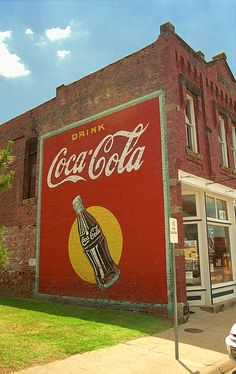 Route 66. An old Coca-Cola painted advertisement in Stroud, Oklahoma.