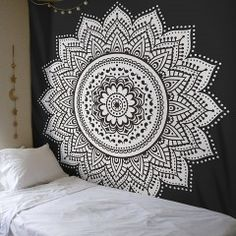 Black & White Rangoli Mandala Wall Tapestry