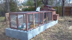 DIY chicken coop idea cinder blocks around to keep out predators and possible flower bed
