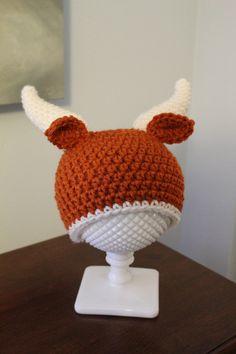 outlet store 72e69 152c2 Longhorn Hat, Handmade Crochet Infant Photo Prop, University of Texas  Longhorns Baby Gift, Newborn Hat Diaper Cover Booties