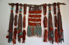 Natural wool, linen and copper wall hanging Weaving Wall Hanging, Weaving Art, Weaving Patterns, Tapestry Weaving, Loom Weaving, Hanging Art, Fabric Weaving, Wall Hangings, Weaving Projects