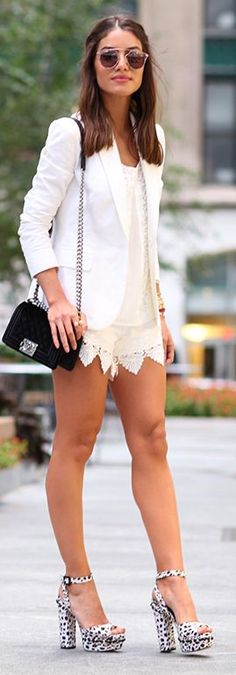 Camila Coelho White Crochet Shorts Fall Inspo