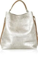 Ralph Lauren Collection Laced Metallic Leather Tote in Silver - Lyst