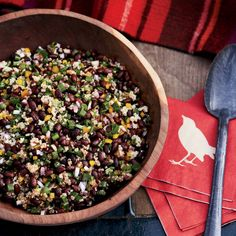 Black Bean-and-Quinoa Salad | Ken Oringer believes chefs need to make a point of eating healthy dishes when they can, so he includes protein-rich quinoa in his diet at least three times a week. Here he mixes the grain with black beans, onions and peppers to make a hearty and very satisfying side dish that's a fun variation on prosaic five-bean salad.