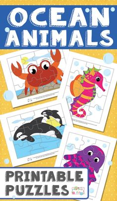 Ocean Animals Printable Puzzles for Kids - itsybitsyfun.com