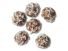 Mini Date-Nut Snowballs-Per serving (6 pieces): Calories 100; Fat 3 g (Saturated 2 g); Cholesterol 0 mg; Sodium 150 mg; Carbohydrate 20 g; Fiber 3 g; Protein 1 g