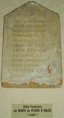 The Tombstone of Marie de Negri d'Ables, Countess of Blanchefort