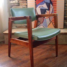 60s Vintage GORGEOUS WALNUT CHAIR Mid Century Modern Gunlocke, Teak Wood, Soft Mint Green Faux Leather, Side, Desk, Lounge Furniture. $155.00, via Etsy.