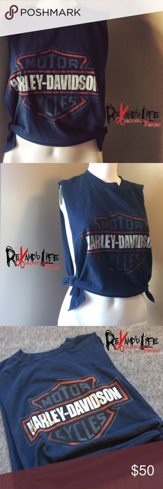 """Cut up vintage distressed Harley Davidson crop top •••☠️ BUNDLE & SAVE ☠️☠️ WILL CONSIDER *ALL* REASONABLE OFFERS!  Vintage Harley Davidson crop top • this cut up crop top is """"vintage"""" ..distressed and faded. Somewhat heavyweight, comfortable. A real dark"""