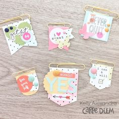Simple Stories Planner Clips - Handmade Planner Clips - Scrapbook Embellishments. Adorable paper project by Kelly Alexandra