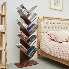 Latitude Run® Features:Multifunctional bookshelf - each shelf of the tree bookshelf can hold 5 books, and you can also place some decorations, magazines, CDs, etc. This keeps clutter out of your space and keeps your space tidy. The bookshelf is open, you can place the bookshelf where you can easily get things. Unique design - the tree bookshelf can be well integrated into the style of home and office. It is not only a place to store books, but also an ornament that can make your house… Tree Bookshelf, Bookcase, Library Bedroom, Bedroom Decor, Home Library Design, Cozy Home Library, Wood Shelves, Shelving, New Room